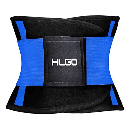 HLGO Hombre de Ajustable Transpirable Cerveza Vientre Cintura Cinturón Elástico Barriga para Adelgazar Azul, L