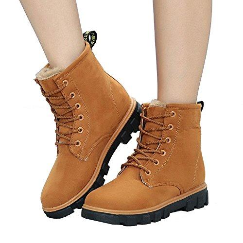 donne caviglia breve stivali tacco piatto invernale calda pelle casual comfort lacci neve cotone scarpe, 38 BROWN-35