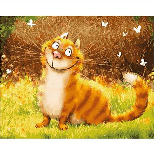 CBUSYS Rahmenlose DIY Gemälde Nach Zahlen Katze Malen Nach Zahlen Für Wohnkultur Pbn Für Wohnzimmer 40 * 50 cm Schöne Katze