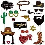 Amosfun West Cowboy Foto-Requisiten-Set mit Bambusstäbchen, Party, lustige Gastgeschenke, Geburtstag, Familie, Reunion Dekoration, 18-teilig