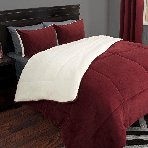 Lavish Home 3Stück Sherpa/Fleece Tröster Set–F/F–Burgund, burgunderfarben, Full/Queen