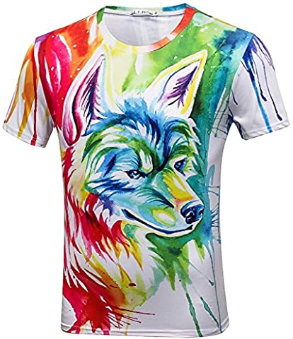 Pizoff Unisex summer light colorful comfortable cool Digital Print T Shirts with colorful painter fuchs wilf 3D pattern