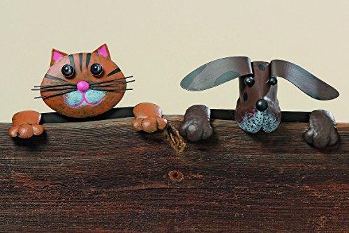 Dapo Leuchten Gartendekofigur Zaunsitzer aus Metall Hund oder Katze Gartendekoration Dekoration (Katze-braun) (Lackiert Hunde Für Halloween)