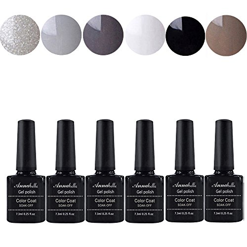 Annabelle UV Nagellack Soak Off UV Gel Nagellack Nail Art Top Coat Base Coat (7.3ml/pc Lot de 6) 007