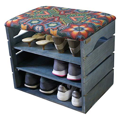 Liza line scarpiera di legno (blu petrolio) con seduta morbida. legno solido