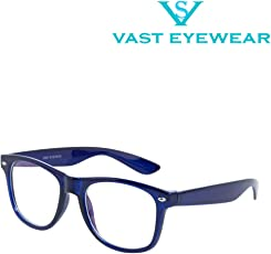 Vast UV Protected Computer Glasses Unisex Frame (WAYFARER_BLUE_CLEAR_ARC|52|Transparent)