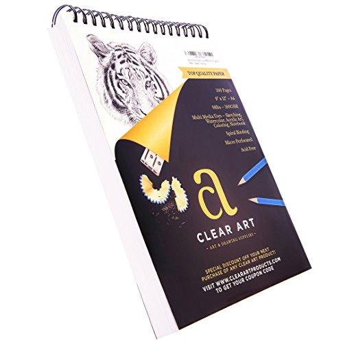 Bloc de dibujo de 100 hojas - Cuaderno de dibujo para arte - Espiral encuadernado - 9' x 12' - 98LB - 160 g/m² - Bocetos - Color acuarela - Acrílico - Cuaderno - Papel de alta calidad