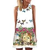 ESAILQ Vintage Boho Frauen Sommer Ärmelloses, Kurzes Minikleid mit Strandprint (L, Weiß-1)