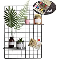 Grid Photo Wall Set of 2, Oucles Grid Wall Mesh Display Panel Decorative Iron Rack Clip Photograph Wall Hanging Picture wall ,Ins Art Display Photo wall, 25.6x17.7 Inches(Black)
