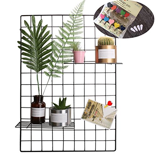 Grid Photo Wall Set Of 2, Oucles Grid Wall Mesh Display Panel Decorative  Iron Rack Clip Photograph Wall Hanging Picture Wall ,Ins Art Display Photo  Wall, ...