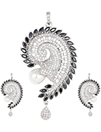 The Plum Fashion Silver Alloy Pendant Set For Women (Pf027)