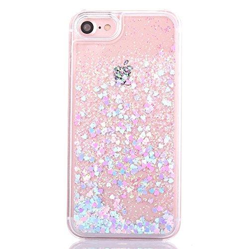 """iPhone 7 Hülle, [Kristallklar Durchsichtig] Handytasche CLTPY iPhone 7 Glanz Sparkle Diamant Sternherz Muster Dynamisch Liquid Hardcase für 4.7"""" Apple iPhone 7 + 1 x Griffel - Blau Blaues Rosa Herz"""