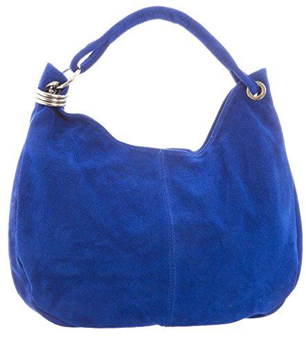 Big Handbag Shop - Borsa a spalla da donna, grande, in vera pelle scamosciata italiana Cobalt Blue (NL729)