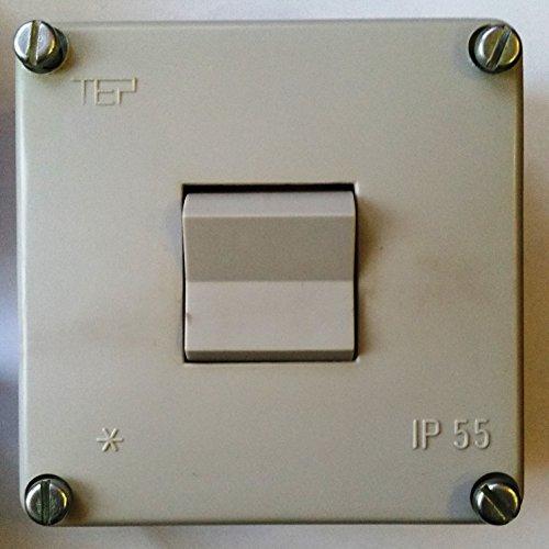 DDR Schalter Lichtschalter Kippschalter Ein/ Aus Aufputz Feuchtraum grau ungenutzt TEP IP 55 Größe ca. 75x75x40mm ARTIKEL IST UNBENUTZT ABER WEIST LAGERSPUREN AUF!!!