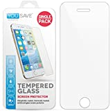 Yousave Accessories iPhone 5S / 5 / SE / 5C Crystal Clear Pack of Tempered Glass Screen Protector [Ultra Thin 0.3mm / 9H Hardness Rating]