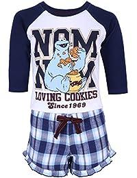 Pijama blanco-azul marino Monstruo de las galletas