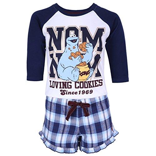 Sesame Street Weiß-marineblauer Schlafanzug Krümelmonster - Cookie Monster -