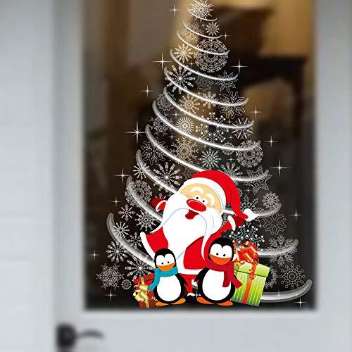 Weihnachten Wandaufkleber,Xmas Tree Santa Claus Pinguin Design Abnehmbare wasserdichte Vinyl Wall Sticker Store Glas Kunst Abziehbilder Für Haus Wohnzimmer Schlafzimmer Neues Jahr Dekorationen -