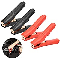 AFASOES 4pcs Electrical Crocodile Clips Alligator Clamps 100A Car Crocodile Alligator Test Clamps Metal Battery Clips for Auto Vehicle Battery Charger,2Red + 2Black (Large Size)