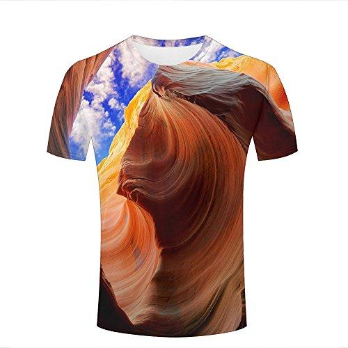 qianyishop Herren 3D Print Blue Sky and Orange Rocks Graphic Summer Casual Short Sleeve T Shirts Fashion Couple Tees M