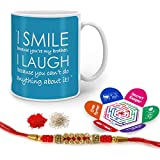 Indigifts Rakhi Gifts For Brother I Smile & I Laugh Quote Printed Gift Set Of Mug 330 Ml, Crystal Rakhi For Brother, Chawal, Tika & Greeting Card - Rakshabandhan Gifts For Brother, Rakhi For Brother With Gifts, Raksha Bandhan Gifts, Brother Coffee