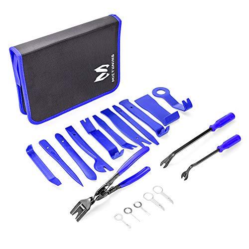 Mictuning Zierleistenkeile-Set, Auto Demontage Werkzeuge Hochwertig Türverkleidungs-Lösewerkzeug Universal Auto Trim Werkzeuge Set mit Tasche-19pcs