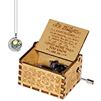 Funmo dad/mom to daughter music box,Pure Hand-Classical you are my sunshine musical box daughter dad Creative Wooden Crafts Best Gifts (daughter love dad)