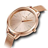 Damen Swarovski Crystal Dial & Edelstahl Mesh Armband 'Oxford' Rose Gold Armbanduhr für Frauen