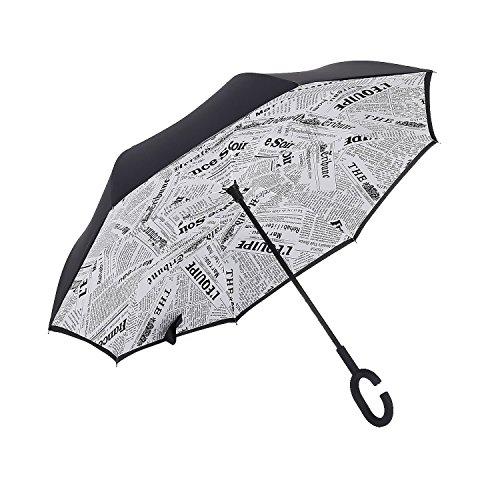 merrya antivento protezione UV ombrello parasole ombrello doppio speculare Retro grande per esterni pioggia Sunny Libera installazione Inside Out capovolto umbrellawith a mani libere White Newspaper