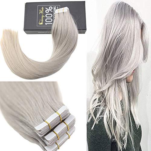 Sunny extension biadesivo grigio capelli veri umani naturali invisible extension 100% remy capelli 14