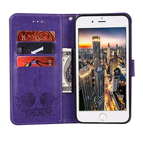 iPhone 5S/5/SE Wallet Case, Magnetic Detachable Bird pattern Premium PU Leather Flip Cover 2in1 Removable SOUNDMAE Protective Folio Wallet With Card Slot Cash Pocket and Hand Strap [Brown] Z-Purple