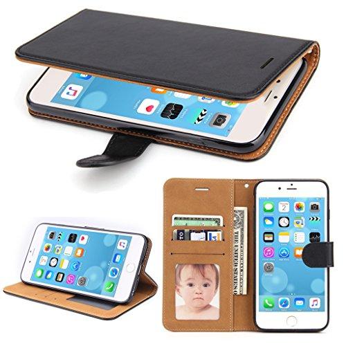 Iphone 6 Wallet-fällen (iPhone 6 Hülle, iPhone 6S Hülle, SOWOKO Leder Etui Flip Case Handyhülle für iPhone 6/ 6S Wallet Tasche mit Integrierten Kartensteckplätzen und Ständer /Magnetverschluss, Schwarz)