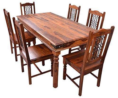 Krishna 2014 Six Seater Dining Table Set (Semi-Matte Finish, Natural Sheesham)