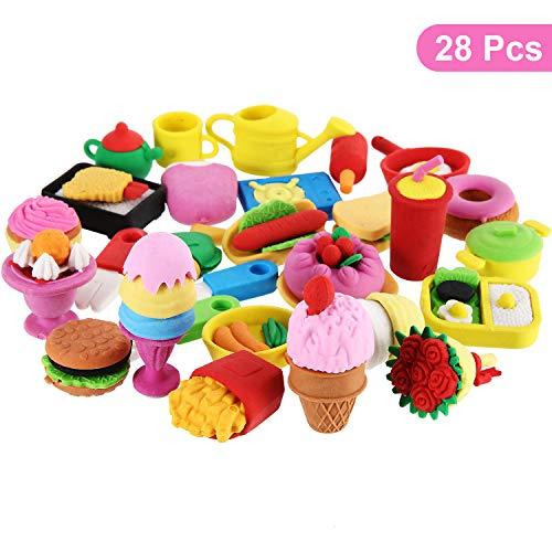 28 Paquete de gomas de borrar de alimentos surtido de colores, helados, tartas y postres. Borrador de rompecabezas. Novedad. Borradores 3D para artículos para fiestas de cumpleaños.   Lindo diseño:  Estos juguetes de borradores de alimentos en forma...