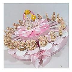 Idea Regalo - Sindy Bomboniere Unicorno Statuetta Femminuccia e Albero della Vita Centrale, bomboniere Battesimo Online, Porcellana, Torta 20 Fette 1 Piano, 4,5 cm Circa