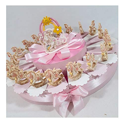 Sindy bomboniere unicorno statuetta femminuccia e albero della vita centrale, bomboniere battesimo online, porcellana, torta 20 fette 1 piano, 4,5 cm circa