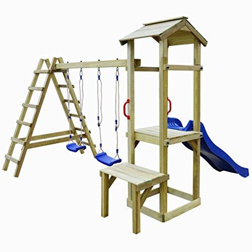 Festnight- Parque de Madera de Infantil con Escaleras y Columpios 286x228x218 cm