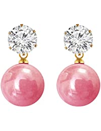 Shreya Collection Elegant & Fashionable Pink Colour Faux Pearl & White Stone Stud Earrings - 878.6