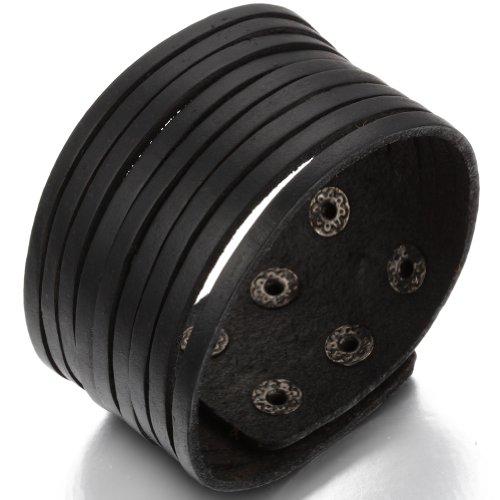 JewelryWe Gioielli bracciale da uomo donna Cool pelle braccialetto Rock nero (regolabile)