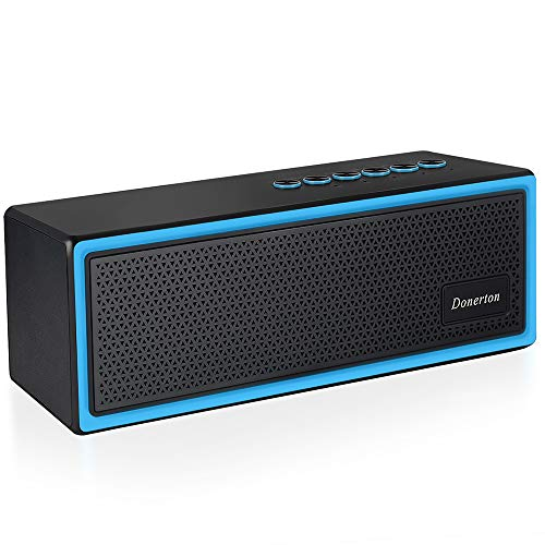 Bluetooth Lautsprecher, Donerton Bluetooth Kabellose Speaker, 20W Dual-Treiber Musikbox mit FM Radio, TF Kartenslot, 12 Stunden exzellenter Sound, fur Party, Garten, Indoor (Schwarz) (Portable Best-fm Radio)