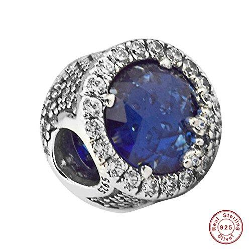 MOCCI European Christmas Blue Dazzling Schneeflocke Bead Authentic 925 Sterling Silber DIY Passt für Original Pandora Armbänder Charm Modeschmuck