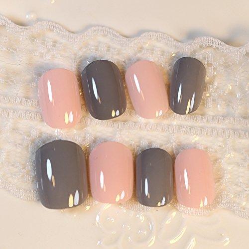 YUNAI faux ongles - Pré-conception de faux ongles conseils de faux ongles gris pâle bébé rose 24 PCS
