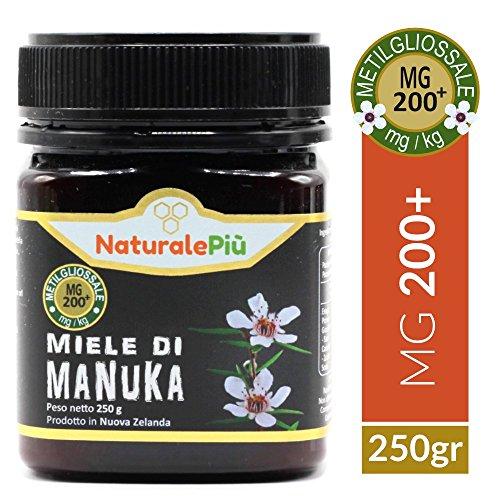Miele di Manuka 200+ MGO 250 gr | Prodotto in Nuova Zelanda, Attivo e Grezzo, Puro e Naturale al 100% | Metilgliossale Testato |