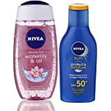 Nivea Sun and Shower Combo (Moisturising Sun Lotion SPF 50, Waterlily and Oil Shower Gel)