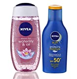#2: Nivea Sun and Shower Combo (Moisturising Sun Lotion SPF 50, 75ml and Waterlily and Oil Shower Gel, 250ml)