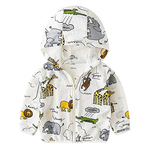 Jungen Sommer Jacke Baby Mantel mit Kapuze Sonnenschutz Langarm Übergangsjacke Reißverschluss Oberbekleidung 9-12 Monate