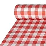 PAPSTAR Papiertischtuch mit Damastprägung 50 m x 1 m rot Vichy Karo 87101 Tischdecke Oktoberfest Wiesn Bayrisch