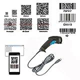 Nyear Handheld Wireless und Wired USB-Barcode-Scanner, 1D und 2D-Handheld-Inventar-Laser-Barcode-Leser mit automatischer Computer-Windows mit USB-Kabel mit 1D und 2D