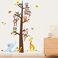 BRILLINT.YY Nursery Wall Sticker Forest Tree Monkey Giraffe Owl Elephant Stickers Tv Background Bedroom Living Room Decoration Wall Decals Mural Poster