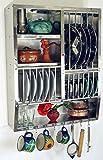 Guru-Shop Edelstahl Küchenregal, Wandregal Miniküche mit Ablagefür 13 Teller, 7 Untertassen, 8 Tassen, 75x58x20 cm, Weinregale & Kleine Regale